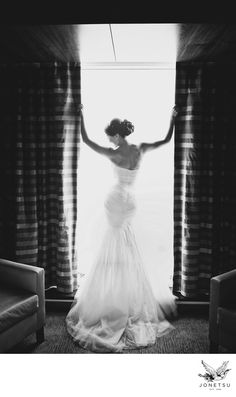 JONETSU PHOTOGRAPHY - Luxury bridal gown portrait of bride in hotel room : Location: Fairmont Pacific Rim Hotel Vancouver.