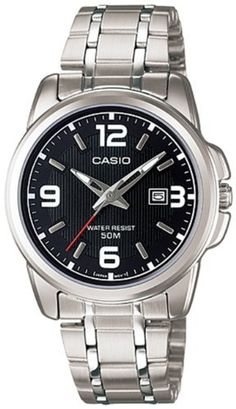 Casio Women's LTP1314D-1AV Silver Stainless-Steel Quartz Watch with Black Dial Casio. $26.54. 50 Meters / 165 Feet / 5 ATM Water Resistant. Mineral Crystal. 33mm Case Diameter. Quartz Movement. Save 34% Off!
