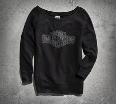 Women's Crochet Lace-Sleeve Sweatshirt | Sweatshirts | Official Harley-Davidson Online Store
