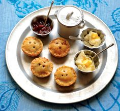 Pork and apple pies with English chutney, and parsnip and potato mash