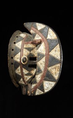 Africa | Mask from the Bobo people of Burkina Faso | Wood; decorated with black, white and reddish brown pigment
