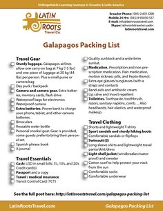 Free downloadable Galapagos packing list. A complete list including gear, essentials, and clothing. Print or download checklist for your Galapagos trip.