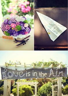 """A """"Love is in the air"""" theme complete with paper airplane programs, a sign using cotton balls to evoke lightness, and tiny model airplanes as part of your centerpiece!"""
