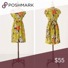 """Anthro Moulinette Soeurs silk dress Chartreuse Shoots Dress from Anthropologie brand Moulinette Soeurs. Lightweight silk dress ties together a bundle of blooms with an empire-waist ribbon. Back zip; Silk; polyester lining. Pockets. Sash tie at waist. Length from shoulder is about 37"""". Armpit to armpit flat is about 17"""". Just dry cleaned, no condition issues. More pics to come! Anthropologie Dresses"""