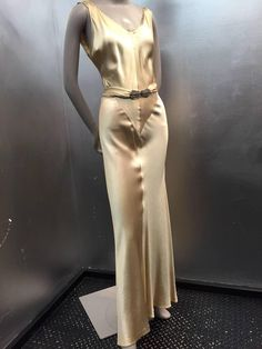1930s Spectacular Champagne Gold Hammered Silk Satin Gown w Plunging Back | From a collection of rare vintage evening dresses and gowns at https://www.1stdibs.com/fashion/clothing/evening-dresses/