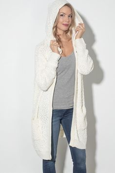 As soon as we tried on this cardigan, we fell in love! Believe us when we say you're not going to want to take this one off when you put it on! It's incredibly soft and features a large hood and two front pockets. Pair this beauty with denim or leggings and a bootie for the ultimate cozy Fall look! Silver Icing, We Fall In Love, Online Collections, Fall Looks, Fashion Company, Fashion Online, Duster Coat, Stylists, Kimono Top