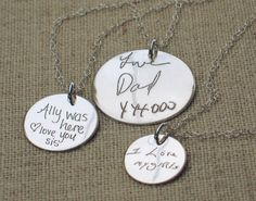 Personalized Jewelry - ACTUAL Handwriting Necklace - Memorial Jewelry - Bridesmaid Gift by emilyjdesign on Etsy https://www.etsy.com/listing/162845679/personalized-jewelry-actual-handwriting