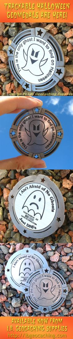 """I Ain't Afraid of No Ghosts, Just DNFs! This trackable Halloween themed GeoMedal is 2.75"""" in size with an antique silver coloured finish. It features the Virtual Geocache ghost with the words """"This is the only ghost I want to find on Halloween"""". The back has a DNF Frownie stylized into a ghost, and the text puts a geocaching spin on the old Ghostbusters theme song. Only $10 from I.B. Geocaching Supplies.  #IBGCp"""