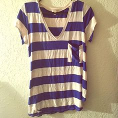 BORDEAUX Anthropologie shirt Extremely comfortable, loose fitting shirt from Anthropologie. Horizontal blue and cream stripes. Size large. Anthropologie Tops Tees - Short Sleeve
