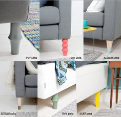 Prettypegs makes fun designs to replace your Ikea sofa/chair legs!      @Stefany Tobel check it out