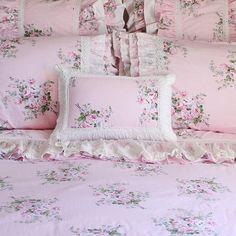 Pink Roses Ruffle Ruched Lace Victorian Shabby Chic Cottage | Etsy Bedding Sets Online, Comforter Sets, Restoration Hardware Bedding, Toddler Girl Bedding Sets, White And Pink Roses, Bedroom Decor, Bedroom Ideas, Bed Ideas, Bedroom Inspiration
