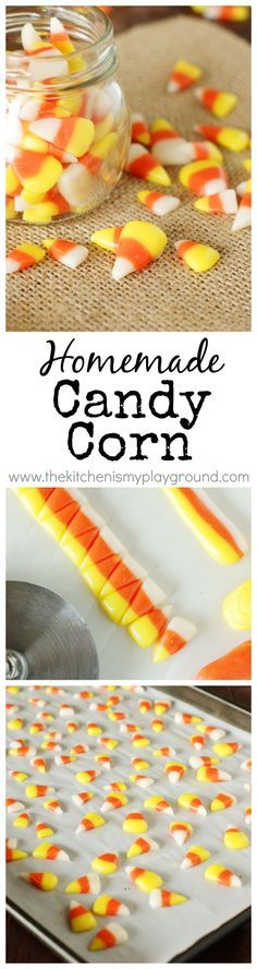 Homemade Candy Corn ~ make your very own homemade version of this iconic Halloween treat. http://www.thekitchenismyplayground.com