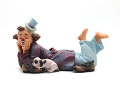 "The Barefooted Clown  Reference: 726038 Sizes: 19cm - 7 1/2"" Limited edition: Numbered edition  http://thecollectorsboutique.com/en/63-the-art-of-enchantment  #decoration #sale #porcelain #home decor #clown #figurine"