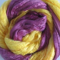 Soy Silk Yarns in Golden Ochre and Violet