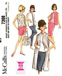 McCall's 7308 Sixties' Separates - Coat or Jacket, Top, Skirt & Pants or Shorts 1964