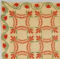 """Quilt with Tulip Variant Pattern, 104 3/4"""" x 103 1/2"""". Tennessee or Alabama, mid to late 19th cent, Case Antiques, Live Auctioneers"""