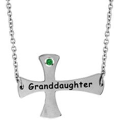 August Peridot Granddaughter Cross Pendant in Stainless Steel ***Available in all Birthstone Colors