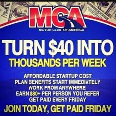 Tired of not having money and your always on Facebook and or and other social media want to find out how to make money just by posting ads and recruiting people well this is your chance life's about taking risks it's time to change your life...https://motorclubcompany.com/associate/carlitoz213