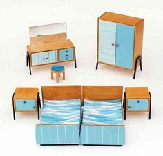 Furniture dollhouse vintage plastic