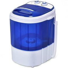 COSTWAY Mini Washing Machine, Portable Washer for Compact Laundry, Small Semi-Automatic Compact Washing Machine with Timer Control Single Translucent Tub Capacity(Blue + White) Compact Washing Machine, Mini Washing Machine, Washing Machines, Compact Laundry, Small Laundry, Laundry Room, Spin Dryers, Laundry Dryer, Drain Pump