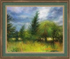 """Winds of Change, country meadow framed art print from Steve Henderson Collection. A storm is brewing and the breeze kicks up. Clouds overhead billow in grey and deep blue as the rain they hold gets ready to release itself over the landscape. There is a mysterious sense of """"fey"""" in the air, a feeling that anything could happen, and that what might happen could be magical and mystical indeed. #landscape #countryside #windy #trees #forest #woods #framedart #shenderson #weather"""