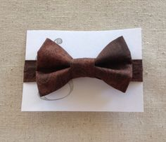 Handmade Velcro Boys Bow Tie in Brown Damask // by GraceCoHandmade, $15.00