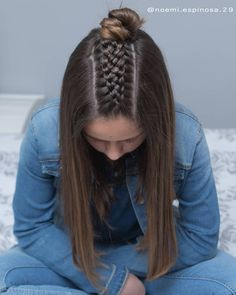 credit Excited that my big girl asked me to do her hair again😍😍 she asked for this simple half up with a five strand Dutch braid and a top knot💗💗 Hope you all Cute Hairstyles For School, Trendy Hairstyles, Braided Hairstyles, Medium Hair Styles, Natural Hair Styles, Long Hair Styles, Hair Again, Yellow Hair, Braids For Kids
