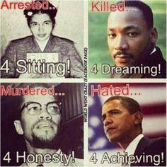 Photo of: Rosa Parks, Martin Luther King, Jr., Malcolm X, President Barack Obama...