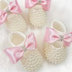c2233af8389a Handmade Swarovski Crystals Pearl Pink Baby Shoes   Luxury Baby Shoes Size 4