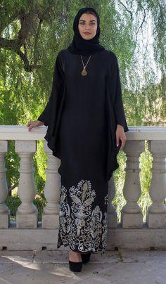 42b712ac9c06 Amara Embroidered Formal Kaftan Abaya Dress - Black. Elegant Black Gold  Kaftan Abaya Dress | Muslim Evening ...