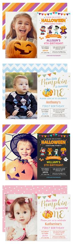 "Celebrate your Baby's First Birthday Party with these lovely cute ""Little Pumpkin Birthday Party Invitations""."