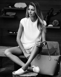 Jessica Hart for Louis Vuitton Spring 2014 Collection, white top, white shorts, white shoes