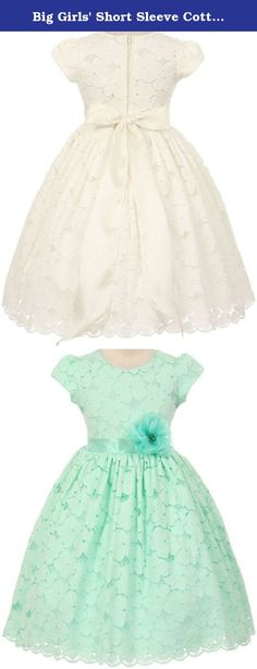 Big Girls' Short Sleeve Cotton Floral Lace Flowers Girls Dresses Mint 14. Beautiful short sleeve cotton floral lace dress accented with a satin sash and flower pin on waistline. Sash is attached to the seam sides of the dress and self ties on the back into a lovely bow. . Perfect for flower girl, junior bridesmaid, Easter, pageant, graduation and other special occasions.