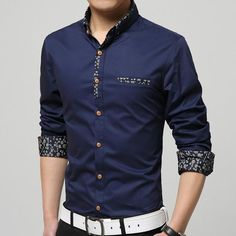 Plus size brand clothing spring Mercerized cotton men's long-sleeved shirt