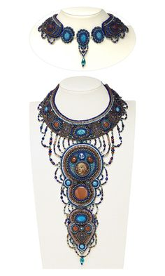 Bib-Style Necklace with Gemstone Cabochons and Beads, Seed Beads and Czech Pressed Glass Druk Beads