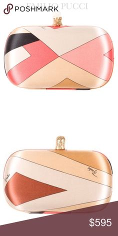 """EMILIO PUCCI SATIN PRINTED CLUTCH Emilio Pucci satin box clutch with gold-tone hardware, tonal satin lining at interior and eagle head clasp closure at top. Colors: Pink, tan, black and brown multicolor pattern print. Approx Measurements: Height 4"""", Width 6.5"""", Depth 2.25"""". Condition: Excellent. No visible signs of wear. Includes dust bag. Sold Out! Emilio Pucci Bags Clutches & Wristlets"""