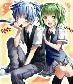Nagisa, Kaede, couple, cute, blushing, knife, text; Assassination Classroom