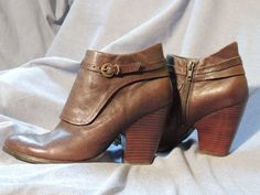 Nine West Vintage Ankle Zipper Boots, Dark Brown Leather, Womens Size 7M - Upbeato