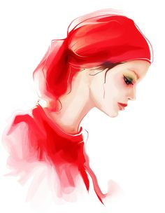 lady in  red Art Print