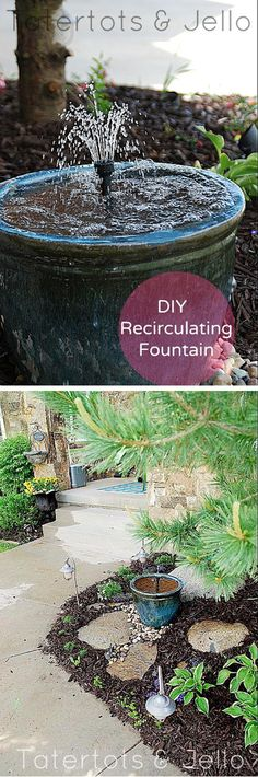 DIY Recirculating Fountain | Curb Appeal Ideas for Front Yard by DIY Ready at  http://diyready.com/diy-ideas-home-improvement-on-a-budget/