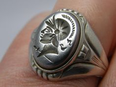 Vintage Antique Uncas Art Deco Intaglio Sterling Silver Men's Ring Roman Soldier. $195.00, via Etsy.