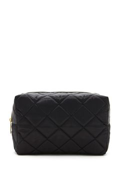 A soft makeup bag featuring a quilted design, high-polish zipper top, and pull-out sides for a compact look.