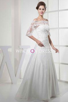 Organza Long Beaded Tulle Natural Waist Half Sleeve A-line Wedding Dress