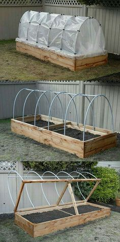 Elevate Your Garden Style With A DIY Raised Planter Raised Planter – The hinged lid allows for quick access, as well as easy venting. Hoop house plastic can be rolled up in the summer to keep rain off tomatoes, or removed entirely during the hot months. Diy Planters, Garden Planters, Outdoor Planters, Tall Planters, Diy Greenhouse, Underground Greenhouse, Homemade Greenhouse, Raised Beds, Diy Raised Garden Beds