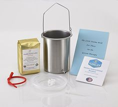 PureLife Coffee Enema Kit  Made in USA  Medical Quality  2 Qt Stainless Steel Enema Bucket  1 Lb Purelife Light Air Roasted Enema Coffee  Certified 100 Organic  Mold and Fungus Free ** Click image to review more details.