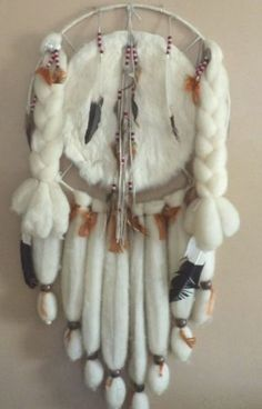 Vintage Native American Mandala Dream Catcher with Fur Wool, Feathers