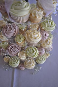 Cream, pale green and lilac wedding cupcakes