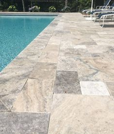 Enhance your outdoor living space, pool, patio, walkway or landscape with our Silver Travertine pavers. Easy Installation, durability and great look. Pool Pavers, Backyard Pool Landscaping, Backyard Pool Designs, Swimming Pools Backyard, Pool Decks, Pool Tiles, Landscaping Ideas, Backyard Ideas, Lap Pools