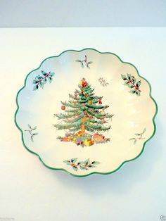 Spode Christmas Tree candy dish scalloped oval  #Spode