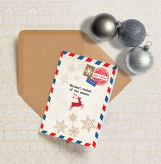 Personalised Vintage Airmail Postcard Christmas Holiday Cards with Envelopes - Pack of 24